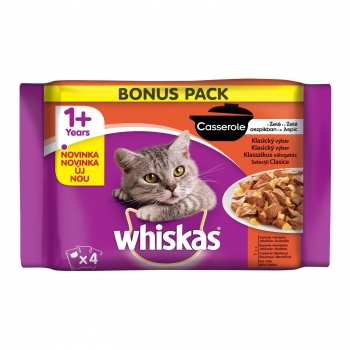 Whiskas Multipack Casserole Selectii Clasice,4x85 g