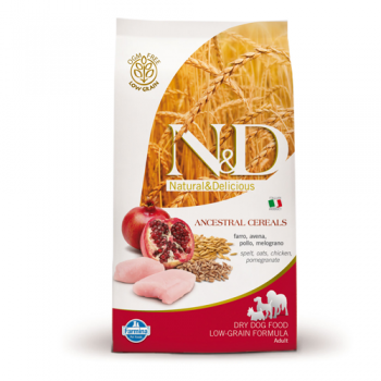 N&D Low Grain Adult Maxi Pui si Rodie 12 kg