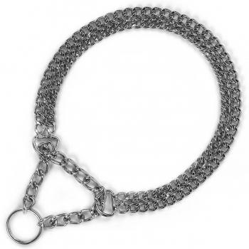 Zgarda Strangulanta cu Lant Dublu Kerbl, Cromata 2.5 mm x 55 cm