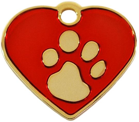 Medalion Inima cu Labute Rosu Small